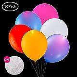 LED Luftballons Mischfarbe, Leuchtende Ballons, Luftballons 30 Stück für Weihnachten Party Hochzeit Geburtstag Fasching Valentinstag (LED Eigener Schalter)