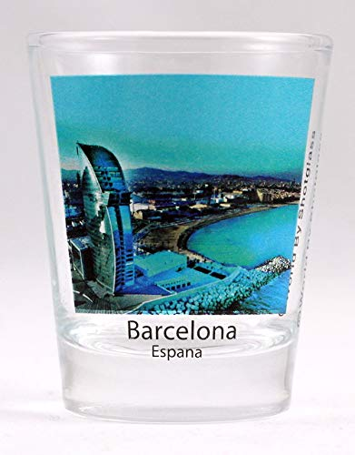 5x6cm style shot glass;Measures 2.25 tall and 1.8 in diameter;Souvenir from Barcelona Spain;Makes a great gift or a nice collector's item;May have manufacturer's Ã'© logo imprinted on the side of glass