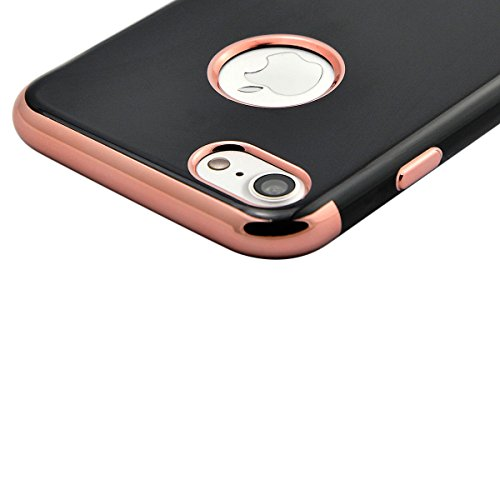 Fraelc® Plating Gold Rahmen TPU Case Weiche Silikon Hülle iPhone 7 Plus Bumper Schale Schutzhülle Handyhülle für iPhone 7 Plus 5,5 Zoll Rose Gold
