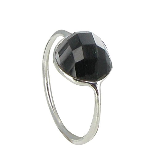 Les Poulettes Jewels - Sterling Silver Ring Large Black Onyx Hemisphere Faceted