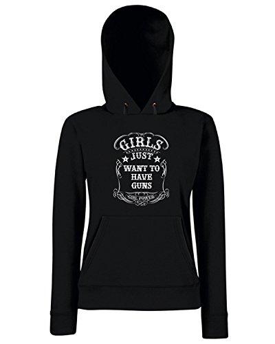 T-Shirtshock - Sweats a capuche Femme TM0709 girls just want to have guns Noir