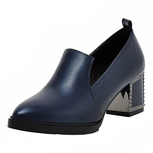 c1bd1fd9c31185 TAOFFEN Pumps Damen Blockabsatz Spitze Toe Slip On Schuhe 2016 Mode Blau
