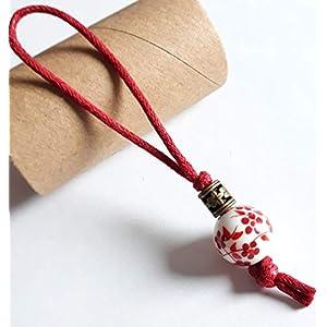 MANDARIN Zieher Helfer für Reißverschluss, Schmuck Anhänger mit Textilschlinge Dunkelrot, handbemalte Porzellanperle Weiß-Rot und Metall Element Farbe Bronze