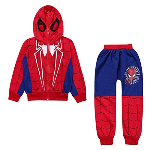 YUNMO Jungen Spiderman kleine und mittlere Kinder Set (Farbe : A, größe : 150) (Spiderman Kleinkind Kostüm)