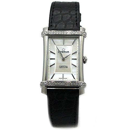 Eterna Contessa Black cuarzo ETA 901.001banda de piel mujer reloj Swiss 2410.48.66.1248