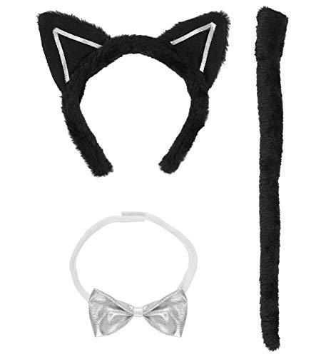 (WIDMANN 5463H - Kostümset Katze, Fliege, Ohren und Schwanz, Universalgröße)