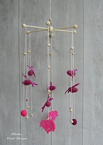 Mobile, pink, handmade, gefilzt, Schaf (Gefilzte Wolle-perlen)