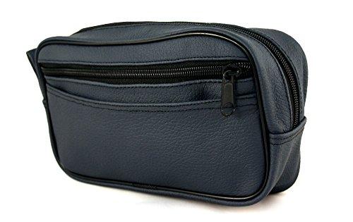 Bilson Kulturtasche aus Leder, blau - Kleiner Waschbeutel unisex mit Seitenfach ( Reise-Neccessaire ) -Kulturbeutel / Toilettenbeutel - Kulturtasche Kinder aus echtem, genarbtem Rindsleder