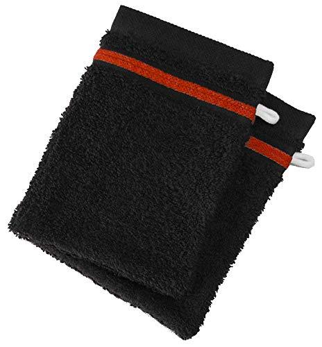 Lot de 2 Gants de Toilette 100% Coton - 550 grS/m2 Noir avec Liserets Rouge