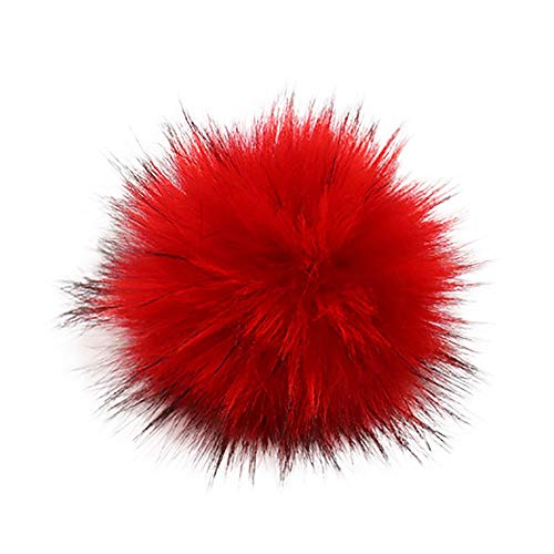 Y56 13cm DIY Pompon Kunstfell Faux Kunstpelz Pom Pom Ball Kunstfellbommel für Stricken Hüte Zubehör Bommelmütze Schlüsselanhänger Bommel mit Anstecknadel Pelzbommel Fellbommel Pompon (L) -