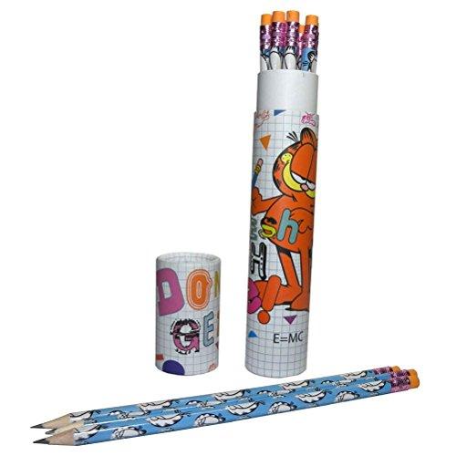 Offizielle Garfield Stil Bleistift Set mit Radiergummis 12 Pk - Schule Schreibwaren