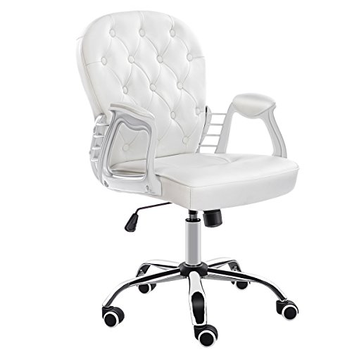 JL Comfurni Bürostuhl aus Kunstleder, Drehstuhl, höhenverstellbarer Schreibtischstuhl Cream White 1 -