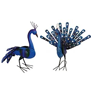 east2eden Special Offer Blue Gold Peacock Tail Up and Down Garden Ornament Statue £30.00