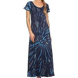 Sakkas SP2 - Diana Vestido largo de manga corta, cuello redondo y desteñido - Azul turquesa - OS