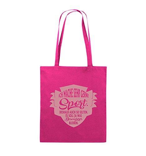Comedy Bags - Ich mache sehr gerne sport deshalb auch so selten - Jutebeutel - lange Henkel - 38x42cm - Farbe: Schwarz / Silber Pink / Rosa