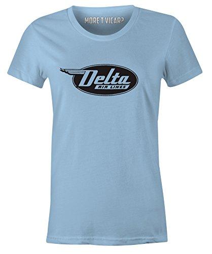 Delta Airlines - Damen Retro Flugzeug Logo T-Shirt Hellblau