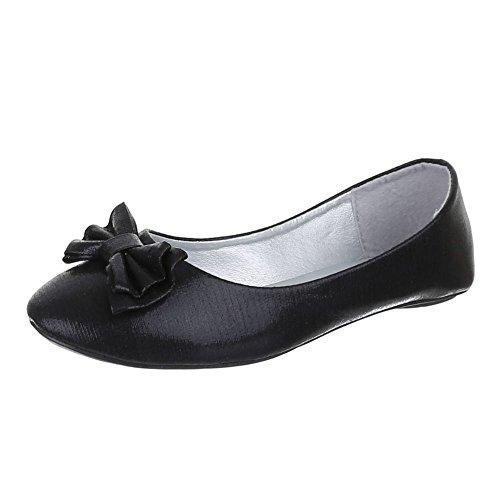 Kinder Schuhe, 1610B, BALLERINAS, PUMPS, Synthetik , Schwarz, Gr 24