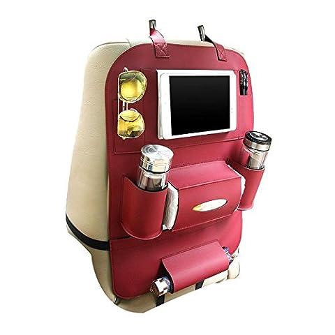 KOBWA Seat Back Organizer+ IPad& Tablet Holder, PU Leather Car Backseat Hanging Kick Mat Protector Travel Storage Bag, To Organize Phone/ Tissue Box/ Umbrella/ Baby Toys/ Bottles (Wine)