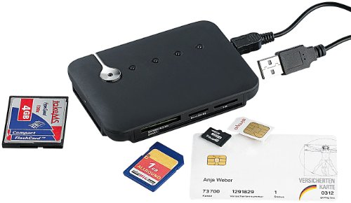 c-enter Multi-Card- und SIM-Reader mit aktivem USB-2.0-Hub, 3 Ports