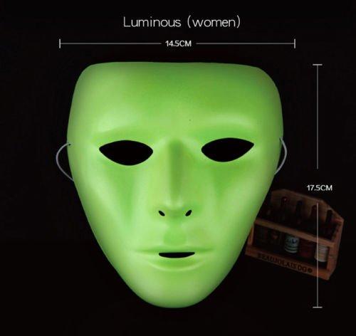 Uni weiß/Kunststoff grün Face Masquerade Maske für Erwachsene Hip-Hop Ghost Dance Fancy Kleid Party–10Stück