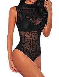 1fe20f4f5eba SEBOWEL Women Sheer Mesh Bodysuit Tops Party Clubwear Long Sleeve Leotard  Blouse