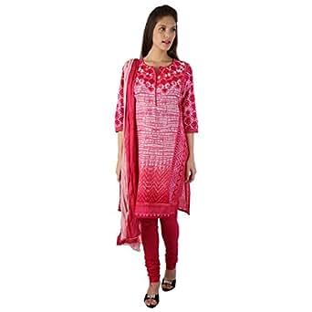 Trishaa By Pantaloons Women's Cotton Churidar Kurta Dupatta Set (205000004503991_XX-Large_Pink)