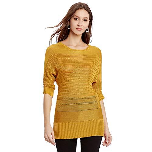 Damen Pullover, Leichte Slim Batwing Strickpullover Einfarbig Rollkragen Kurzarm T-Shirt -