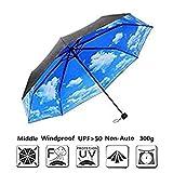 Faltbarer Regenschirm Regenschirm Mädchen XAGOO Blauer Himmel (Außen schwarz Blau)