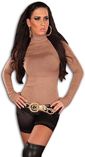 In Style Damen Pullover langärmelig mit Rollkragen,M/L,Karamell