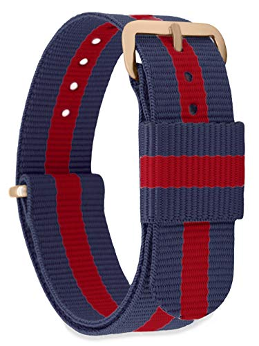 MOMENTO Watch Strap NATO Nylon for Woman and Man with Stainless Steel Buckle in Rose Gold with Red Blue Fabric in 18mm