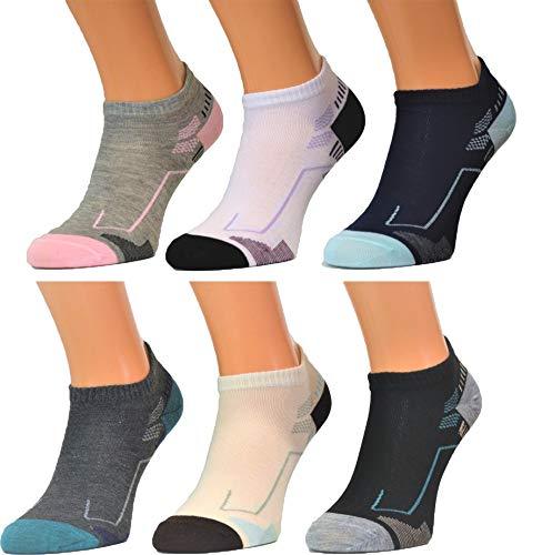 BestSale247 12 Paar Damen Mädchen Sneaker Socken Füßlinge Baumwolle (Farbmix, 39-42)