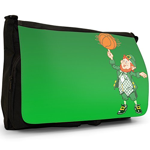 Fancy A Bag Borsa Messenger nero Shamrock Irish Lucky Clover Lucky Leprechaun Spinning Basketball on Finger