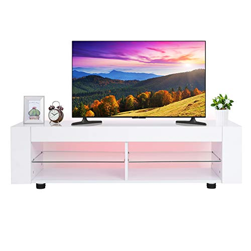 Fernsehschrank TV Schrank Weiss Hochglanz mit Offene Fächer, TV-Lowboard Fernsehtisch mit 16 Farben LED Beleuchtung TV-Möbel für Wohnzimmer Schlafzimmer Weiß 134 x 39 x 29 cm (Licht-holz-tv-ständer)