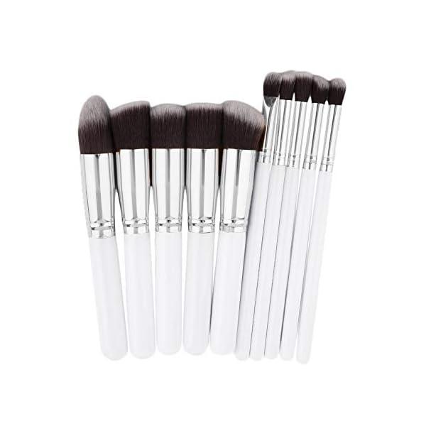 RoadRoma 10 Piezas de Maquillaje Profesional Cosméticos Blush Cejas en Polvo Pinceles Set (Blanco y Plata) 1