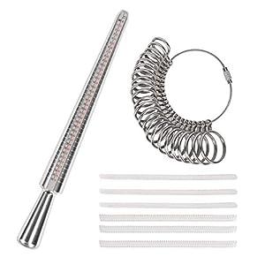 KATOOM 8er Ringgrößenmesser Ringstock Ringgröße Messen Ermitteln Ringmesser mit 6 Verkleinern Ringeinlagen Ringdorn Ring Sizer Tool Größe Adjuster Messgerät Schmuckwerkzeuge Größenstandard UK USA