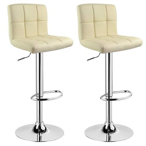 Woltu venice bs9109-2 sgabelli da bar di design, in similpelle, colore: crema