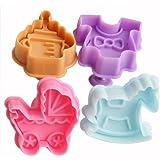 ZNU 1 Set -- 4tlg. Cutters Baby-Spielzeug Ausstecher Ausstechformen F. Marzipan Fondant Torten Tortendeko Kuchen Backen