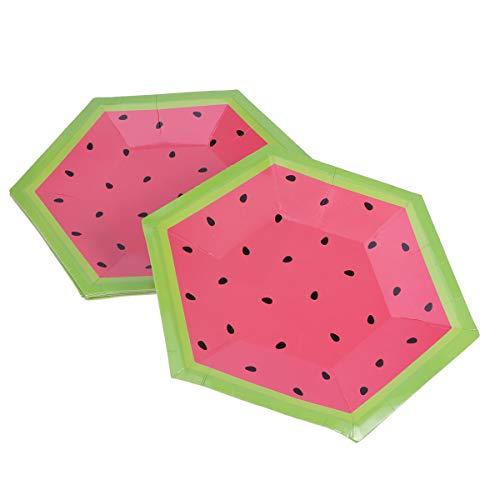 TOYANDONA 8 stücke 10 Zoll Einweg Wassermelone Platten Papier dessertteller Kuchen obstteller Sommer Party Dekoration Geschirr