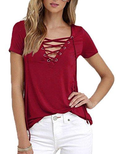 Smile YKK Chemisier Blouse Femme T-shirt Coton Top Manche Courte Sexy Col V Eté Chic Bordeaux