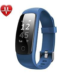 YAMAY® Fitness Tracker mit Herzfrequenzmessung Pulsmesser Aktivitätstracker Smartwatch Bewegungs- Messung Fitness Armband Smart Armband Bluetooth Schrittzähler mit Stoppuhr/Wettervorhersage /14 Trainingsmodis/Anrufe/SMS/SNS/ Alarm bei Bewegungsmangel für Android und iOS Smartphones