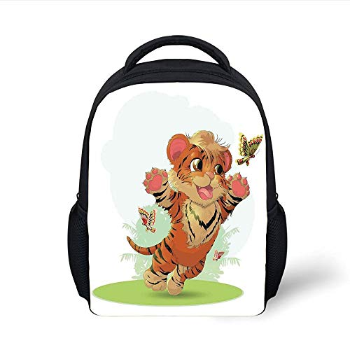 Kids School Backpack Cartoon Decor,Little Cub Playing with Butterflies in The Meadow Joyful Lively Baby Tiger Cat,Orange Cream Green Plain Bookbag Travel Daypack - Butterfly Meadow Tiger