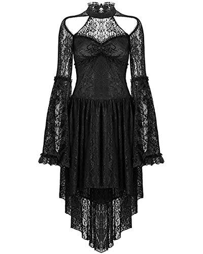 Dark In Love Noir Gothique Robe en Dentelle Vintage Victorien Steampunk Manches Longues Sorcière - Noir, M - UK Womens Size 10