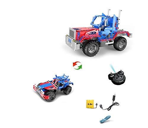 RC ferngesteuerter 2en 1Camion Truck en pierres de construction à monter soi-même bricolage avec 2.4GHz Télécommande, bloc Building véhicule, voiture, Car, Kit complet avec batterie et chargeu