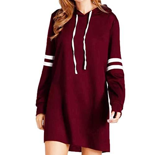 NPRADLA 2018 Herbst Damen Hoodie Langarm Lange Sweatshirt Jumper Pullover Kleid (XL/50, Weinrot) Weiße Rose Swag