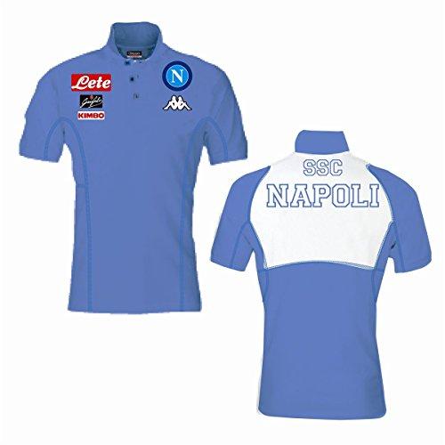 SSC Neapel Herren-Polohemd, offizielle Kollektion 2016/17,Kappa, Erwachsenengröße, Herren S blau Ssc Cap