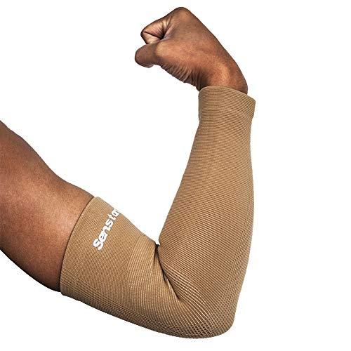 Senston 1 Stück Armbandage Kompressions Armstulpe für Herren Ellenbogenbandage Atmungsaktiv Gym Arm Sleeve Volleyball Armschoner Damen Elbow Support