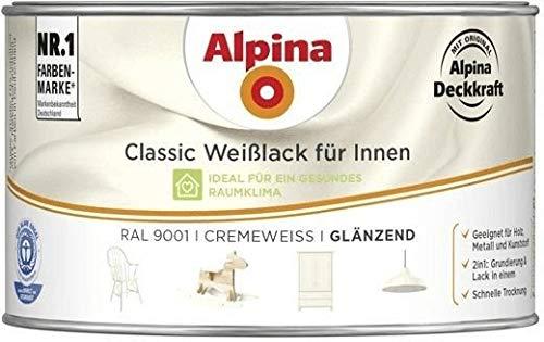 Alpina Weisslack Classic für Innen Glänzend 300 ml Farbwahl, Farbe (RAL):RAL 9001 Cremeweiß
