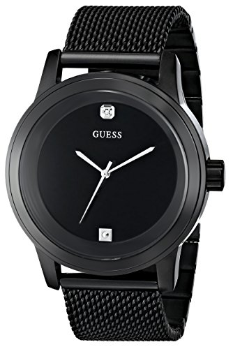 41unBs68dML - GUESS  U0297G1 Mens Diamond Accented Mesh watch
