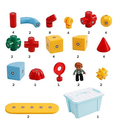 QPP-PT Magnetische Holzklötze Kinder Pädagogisches Gebäude Zu Bauen Rotierenden EQ Magnetische Kubische Magnetische Spielzeug 48 Stück Set Früherziehung Spielzeug Mit Aufbewahrungsbox -