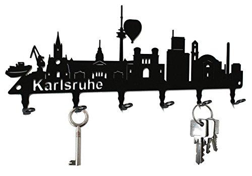 steelprint.de Schlüsselbrett/Hakenleiste * Skyline Karlsruhe * - Schlüsselboard Baden-Württemberg, Schlüsselleiste, Metall - 6 Haken